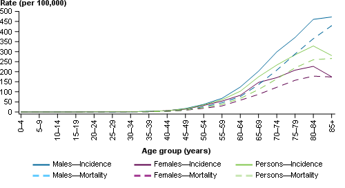 This line chart presents the estimated age-specific incidence (solid line) and mortality (dashed line) rates of lung cancer for males (blue), females (purple) and persons (green) in 2017. The age-specific incidence and mortality rates are shown on the primary (left) y-axis, with 5-year age groups from ages 0–4 to 85+ shown on the x-axis.