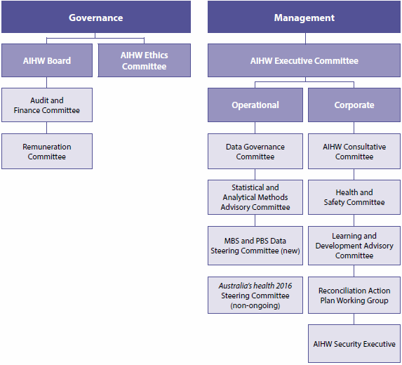 Figure 4.1 details the AIHW's governance and management committees at 30 June 2016.
