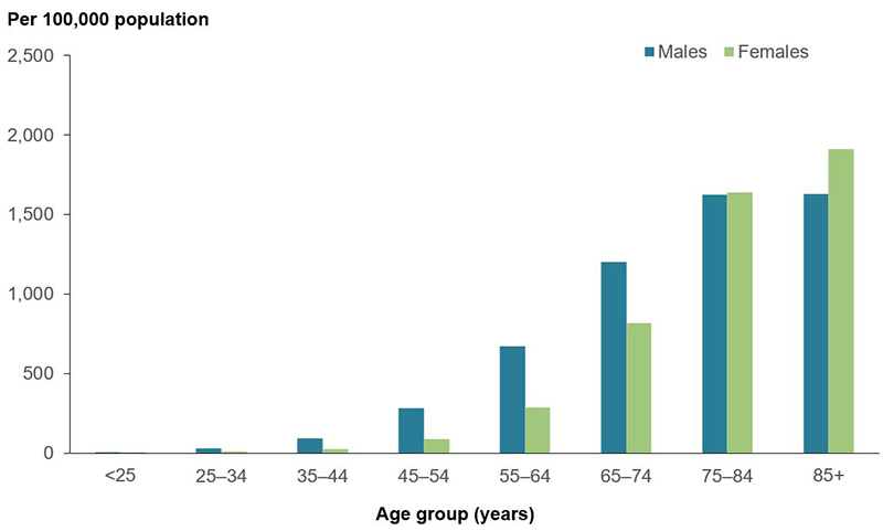 The column graph shows the rate of hospitalisations for atrial fibrillation in 2017-18, increased with age for both males and females. Males experienced higher rates of AF hospitalisation than females until the age of 75-84 years, with females age 85+ years experiencing the highest hospitalisation rate at 1,911 per 100,000 hospitalisations.