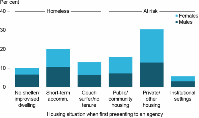 Figure DIS.5: Clients with with severe or profound core activity limitation, by housing situation at beginning of support, 2016–17. The stacked vertical bar graph shows that clients at risk of homelessness were most likely living in private or other housing (29%25), compared with homeless clients who were most likely in short-term accommodation (19%25). Across all housing situations the male/female client ratio was similar, except for those homeless with no shelter or improvised dwelling; they were more likely to be male.