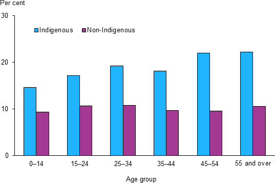 The vertical bar chart shows that in 2012–13 Indigenous Australians had higher rates of asthma than non-Indigenous Australians across all age groups. Rates remained fairly steady for non-Indigenous Australians (at around 10%25), but increased with age for Indigenous Australians, peaking at 22%25 at age 55 and over.