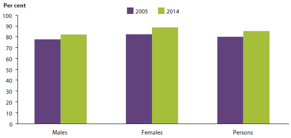 Bar chart showing the proportion of males, females, and all persons aged 20-24 that had completed year 12 or certificate 3 and above in 2005 and 2014. In 2005 the proportions were: males (around 75%25), females (around 80%25), and all persons (around 80%25). In 2014 the proportions were: males (around 80%25), females (around 85%25), and all persons (around 85%25).