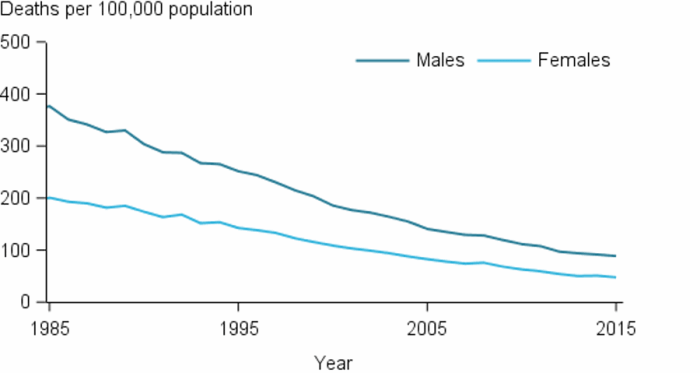 The line chart shows that CHD mortality rates have declined rapidly between 1985 and 2015 for males and females. CHD mortality rates have remained consistently higher for males than females.