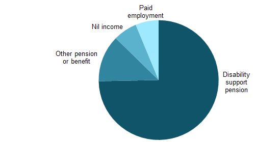The pie chart shows that 74%25 of NDA service users with autism reported the disability support pension as their main source of income, 13%25 reported other pension or benefit, 6%25 reported paid employment and 6%25 reported nil income.