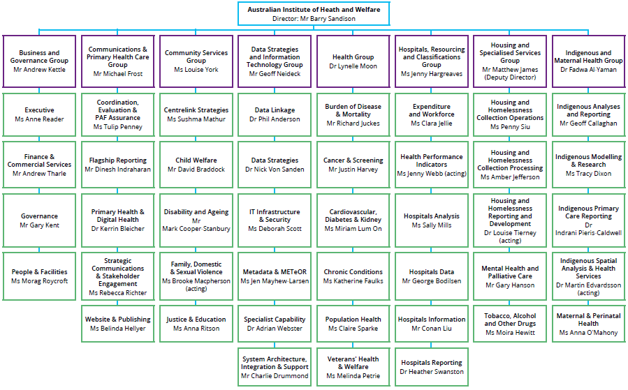 Figure 4.2 shows the organisational chart for the Australian Institute of Health and Welfare, as of 30 June 2018