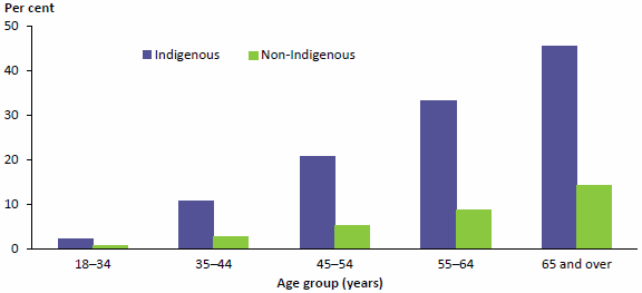 Figure 2.5 compares the proportions of adult diabetics who were Indigenous and non-Indigenous, for 5 age groups, in 2011–23. The proportions rise with age for both population groups, however the proportions are substantially higher for Indigenous people in every age group. Data are available in Table A8.18.