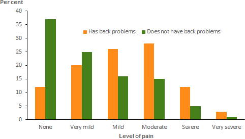 The vertical bar chart shows that people aged 18 and over with back problems were twice as likely to report severe (11.6%25) and three times as likely to report very severe (3.2%25) bodily pain compared with those without the condition (5.4%25 and 1.0%25 respectively).
