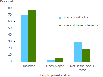The vertical bar chart shows that people aged 15–64 with osteoarthritis were 1.5 times as likely as those without osteoarthritis not to be in the work force (29%25 and 19%25 respectively).
