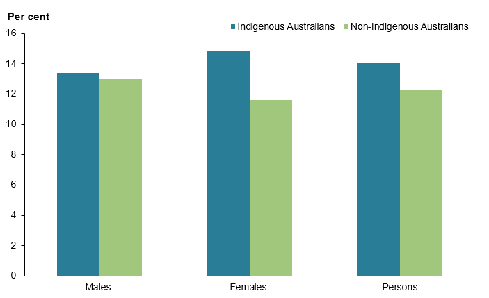 The vertical bar chart shows that, after adjusting for age, the prevalence of back problems was relatively similar in Indigenous Australians (13%25 of males, 15%25 of females) compared with Total Australians (13%25 of males, 12%25 of females).