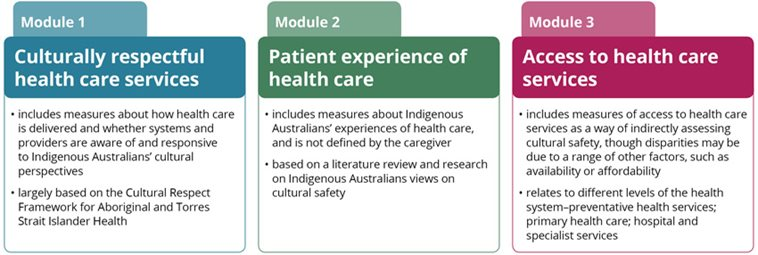 Diagram showing 3 modules: Module 1 - Culturally respectful healthcare services; Module 2 - Patient experience of health care; Module 3 - Access to health care services.