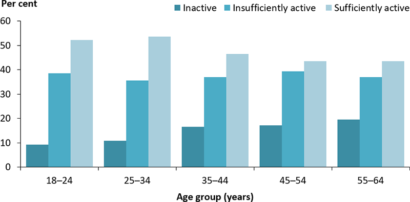 The vertical bar chart displays the proportion of adults aged 18–64 years who are inactive, insufficiently active and sufficiently active by age group. The proportion who were inactive or insufficiently active increased across age groups and reached a peak those aged 55–64 years.