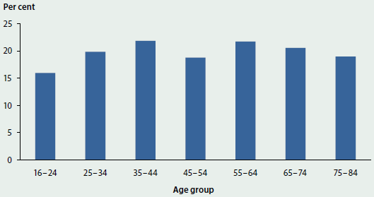 Column graph showing the proportion of people with a mental illness per age group who had a GP treatment plan in 2010-11. The proportion was around 15-23%25 across all age groups.