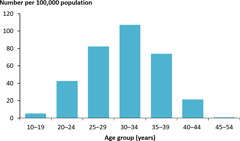 The vertical bar chart shows the rate of hospitalisations for diabetes during pregnancy, as a principal diagnosis, among women aged 10–54 years, by age group. The rate of hospitalisations was peaked among women aged 30–34 years (107 per 100,000 population).