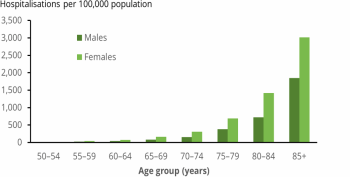 The vertical bar chart shows that the hospitalisation rates for minimal trauma hip fracture among people aged 50 and over were highest in people aged 85 and older.