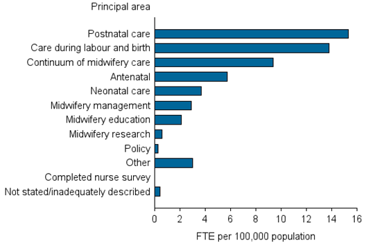 Horizontal bar chart showing; Principal area of main job on the y axis; FTE per 100,000 (0 to 16) on the x axis.