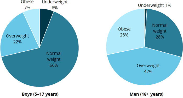 This figure is comprised of two pie charts. The first shows that, for boys aged 5–17 years, 6%25 are underweight, 66%25 are normal weight, 22%25 are overweight, and 7%25 are obese, based on their BMI measurement. The second pie chart shows, for men aged 18 and over, 1%25 are underweight, 28%25 are normal weight, 42%25 are overweight, and 28%25 are obese, based on their BMI measurement.