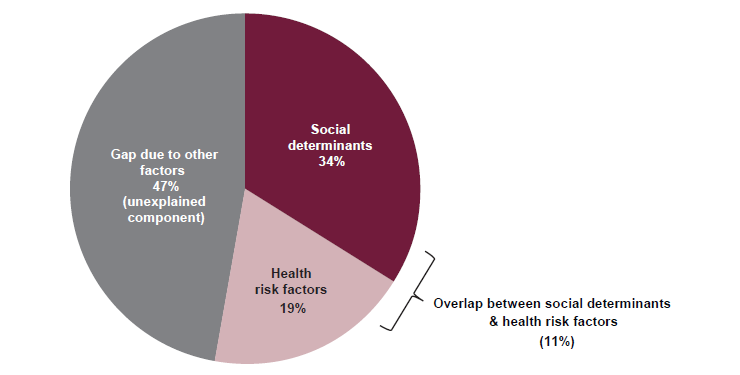 This pie chart shows the proportions of the contributors to the health gap between Indigenous and non-Indigenous adults. This chart presents the contributions to the health gap by health risk factors, by social determinants and by unexplained component due to other factors.   This figure shows that an estimated 34%25 of the health gap between Indigenous and non-Indigenous adults was due to social determinants, 19%25 due to health risk factors, and 47%25 could not be explained by the selected factors. Around 11%25 of the total health gap was estimated to be attributed to the overlap between the social determinants and health risk factors.