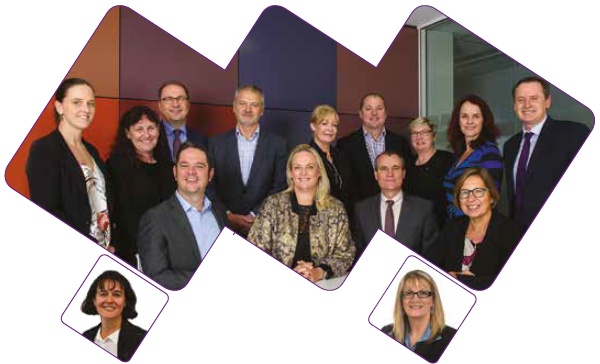Photo of AIHM Board. Back row (left to right): Marissa Veld, Luise McCulloch, Zoran Bolevich, Philip Fagan-Schmidt, Gillian Adamson, David Conry, Lyn Roberts, Erin Lalor, Andrew Goodsall. Front row (left to right): Michael Perusco, Simone Ryan, Barry Sandison, Marilyn Chilvers. Absent: Caroline Edwards (bottom left), Louise Markus (bottom right).