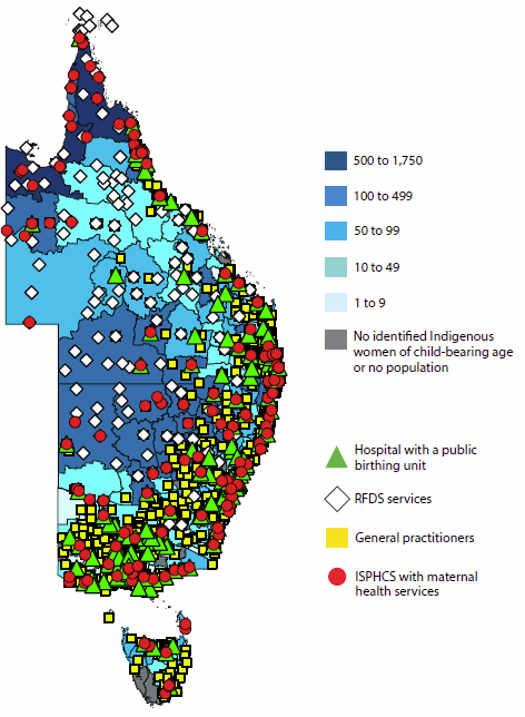 Map of Eastern Australia showing the locations of hospitals with public birthing units, RFDS services, general practitioners, and ISPHCS with maternal health services. The map also shows the number of Indigenous women aged 15-44 in each region. The East Coast has a high concentration of maternal health services.
