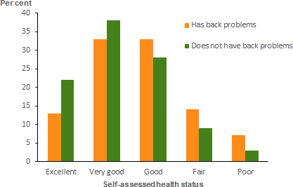 The vertical bar chart shows that, people aged 15 and over with back problems are less likely to perceive their health as excellent than people without back problems. People with back problems were 2.3 times as likely to rate their health as poor (7.3%25) compared to those without back problems (3.2%25).