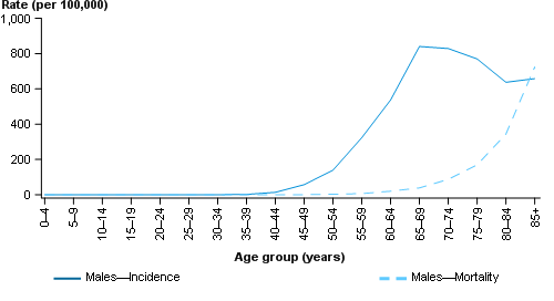 This line chart presents the estimated age-specific incidence (solid line) and mortality (dashed line) rates of prostate cancer for males in 2017. The age-specific incidence and mortality rates are shown on the primary (left) y-axis, with 5-year age groups from ages 0–4 to 85+ shown on the x-axis.