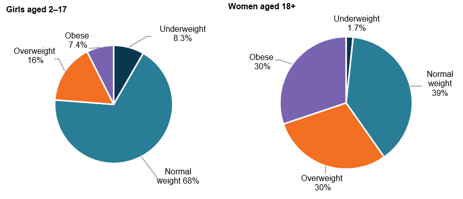 This figure is comprised of two pie charts. The first shows that, for girls aged 2–17, 8.3%25 were underweight, 68%25 were normal weight, 16%25 were overweight and 7.4%25 were obese. The second pie chart shows that, for men aged 18 and over, 1.7%25 were underweight, 39%25 were normal weight, 30%25 were overweight and 30%25 were obese.