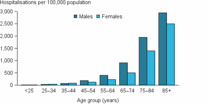 The vertical bar chart shows that in 2015–16, stroke hospitalisation rates (as a principal diagnosis) increased rapidly with age from age 65 and over, with rates twice as high in the 85 and over age group compared with the 75–84 age group.