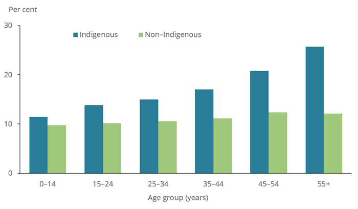 The bar chart shows the prevalence of asthma between Indigenous and non-Indigenous Australians in 2018–19. One in six (16%25) of Aboriginal and Torres Strait Islander people had asthma in 2018–19, with a higher rate among females (18%25) compared with males (13%25). The prevalence of asthma among Indigenous Australians was higher than that among non-Indigenous Australians in all age groups, but is more marked for older adults.