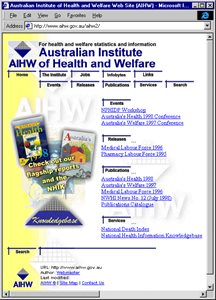 screenshot AIHW website