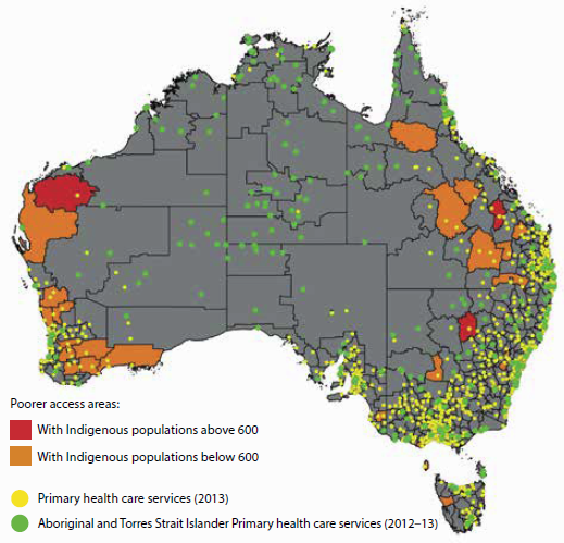 Map of Australia showing that poorer primary health care services access areas are in Western Australia, Queensland and NSW. There are many Aboriginal and Torres Strait Islander primary health care services across central Australia, but few general primary health care services.