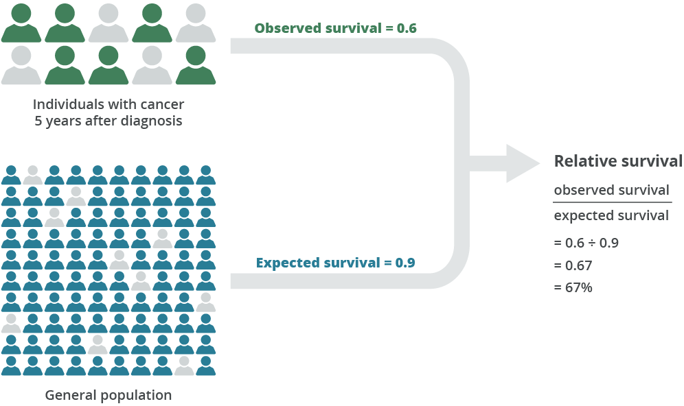 Diagram shows observed survival is 6 out of 10, i.e. 0.6. Expected survival is 90 out of 100, i.e. 0.9. Therefore relative survival is 0.6 divided by 0.9, which is 0.67, or 67%25.