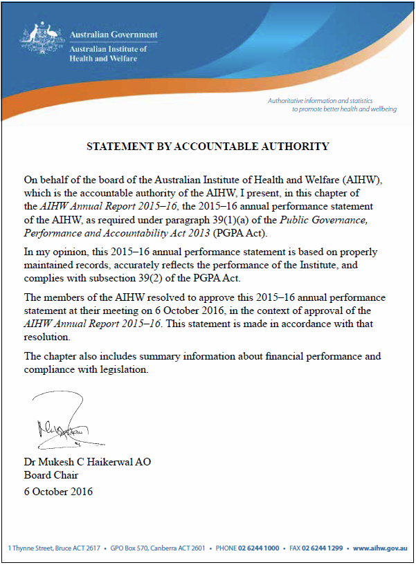 Statement by Accountable Authority.