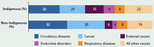 Graph indicating the rates for different causes of death in 2009-2013, for Indigenous and non-Indigenous people. Most people died of circulatory disease (26%25 of Indigenous people, 32%25 of non-Indigenous people). The rate of death from cancer was 10%25 greater for non-Indigenous people.